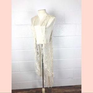 Crochet lace duster vest size L long hi lo Boho
